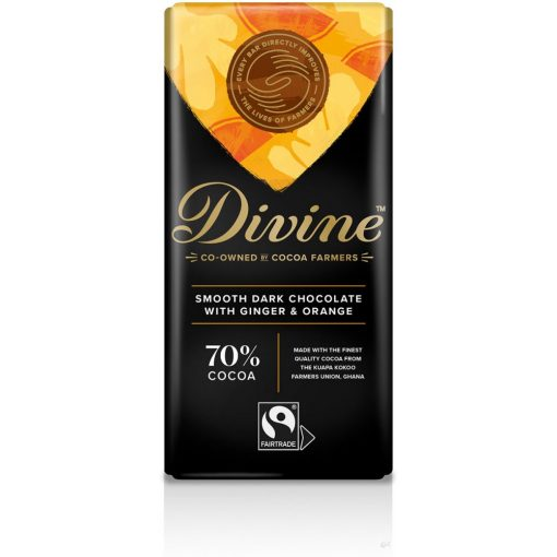 Divine 70% étcsokoládé narancs-gyömbér 90g