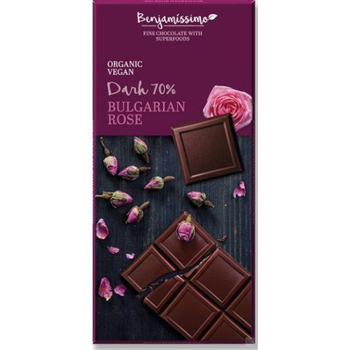 Benjamissimo étcsokoládé damaszkuszi rózsavízzel 70g