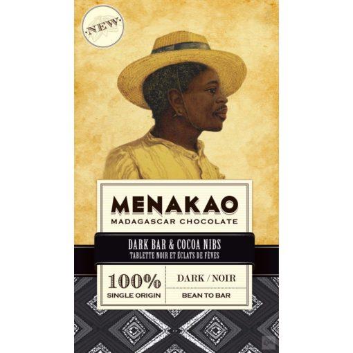Menakao madagaszkári 100% étcsokoládé kakaóbab darabkákkal 75g