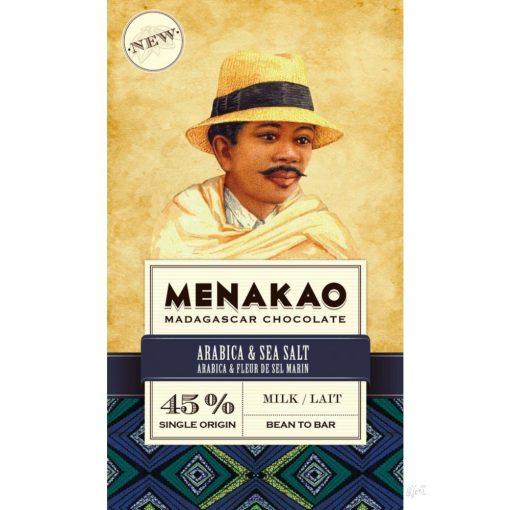 MENAKAO madagaszkári 45% tejcsokoládé arabica kávés, tengeri sós 75g