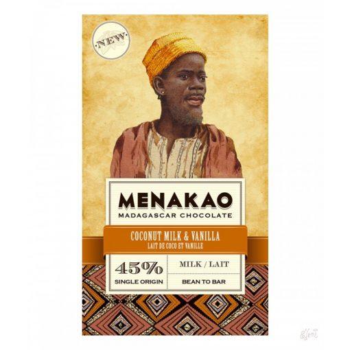 Menakao madagaszkári 45% tejcsokoládé kókusz, vanília 75g