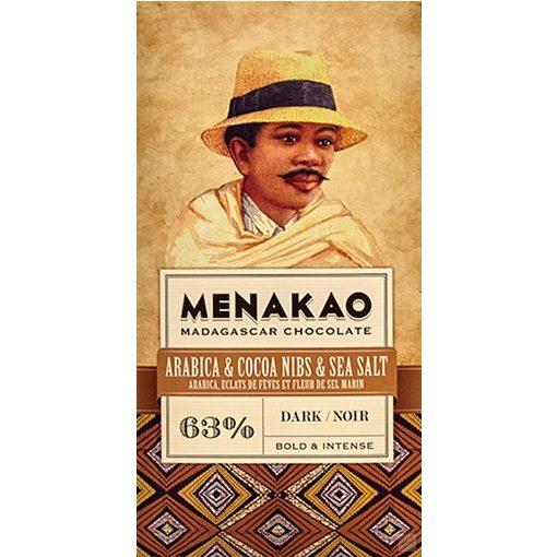 Menakao madagaszkári étcsokoládé 63%, arabica kávé- kakaóbabtöret-tengeri só 25g