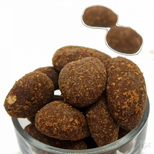 Pekándió sós-vaníliaporos- karamellás tejcsokoládéban (10g)