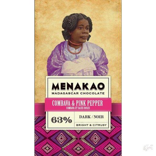 Menakao madagaszkári 63% étcsokoládé combava-rózsabors 25g