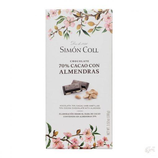 Simon Coll 70% étcsokoládé mandulás 100g