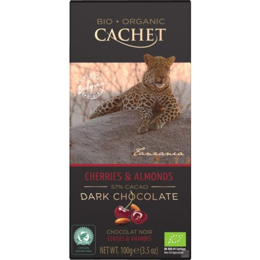 Cachet Bio étcsokoládé cseresznye-mandula 100g