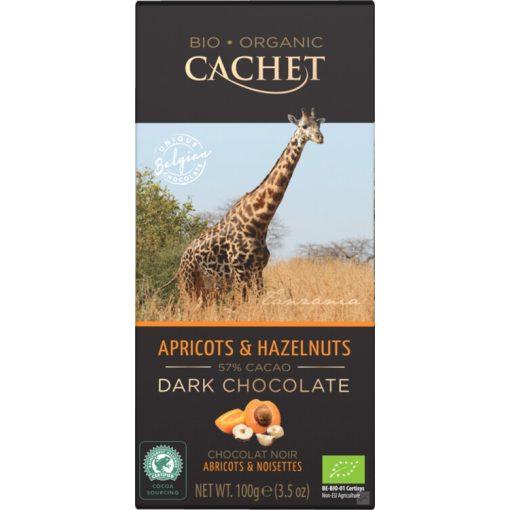 Cachet Bio étcsokoládé barack-mogyoró 100g