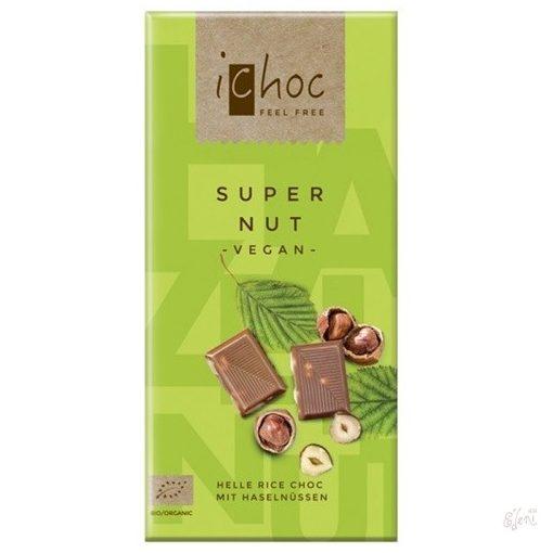 iChoc Bio rizstejes csokoládé mogyoróval 80g