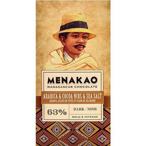 Menakao madagaszkári 63% étcsokoládé arabica kávé- kakaóbabtöret-tengerisó 75g