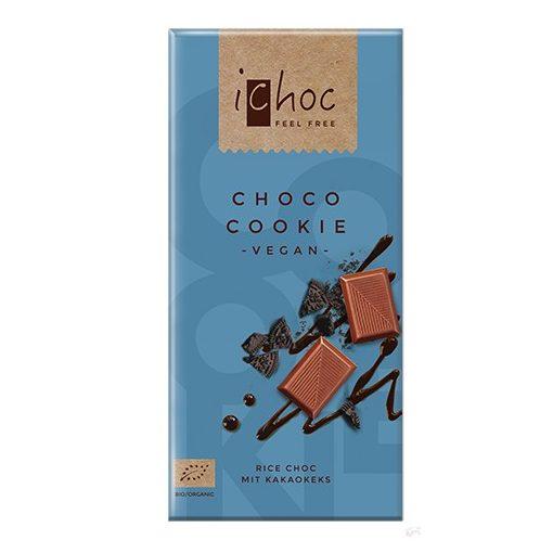 iChoc Bio rizstejes csokoládé kakaós keksz darabokkal 80g