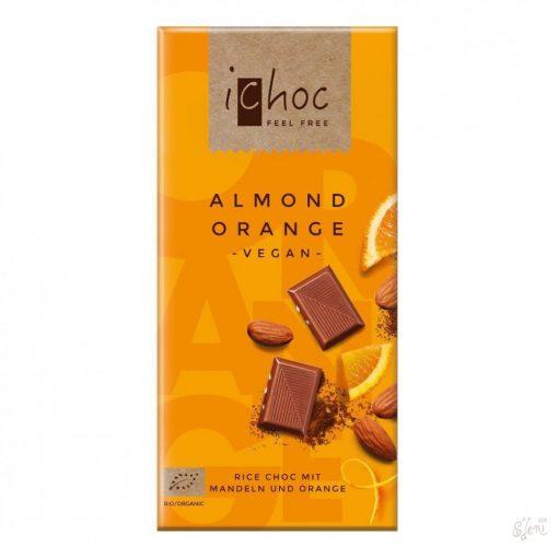 iChoc Bio rizstejes csokoládé mandula-narancs  80g
