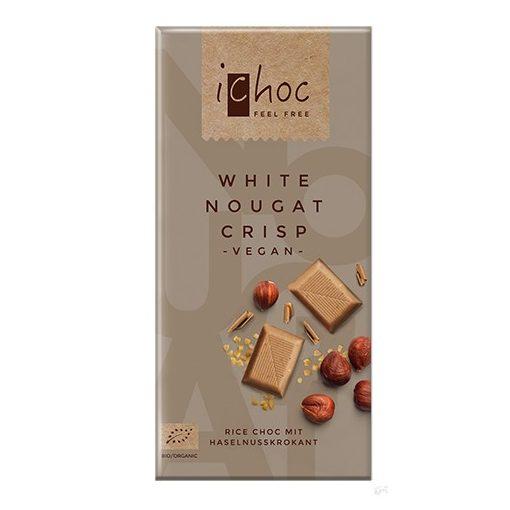 iChoc Bio rizstejes fehér csokoládé nugátos karamellizált mogyoróval 80g