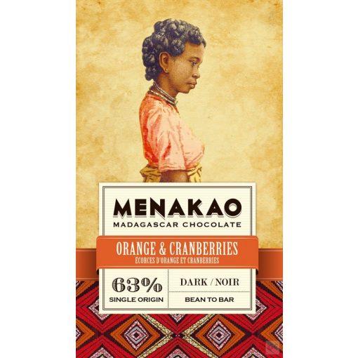 Menakao madagaszkári étcsokoládé 63% narancs-áfonya 75 g