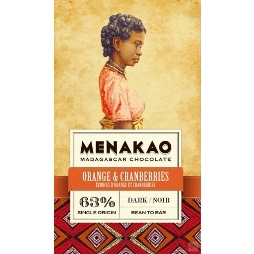 Menakao madagaszkári 63% étcsokoládé narancs-áfonya 75g