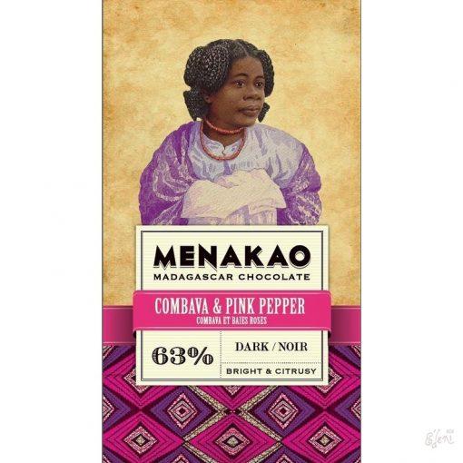 Menakao madagaszkári 63% étcsokoládé combava-rózsabors 75g