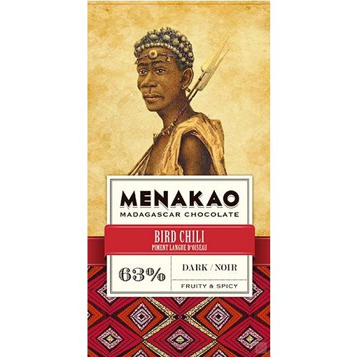 Menakao madagaszkári étcsokoládé 63% madárchili 75 g