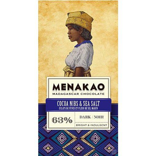 Menakao madagaszkári 63% étcsokoládé kakaóbabtöret-tengerisó 25g