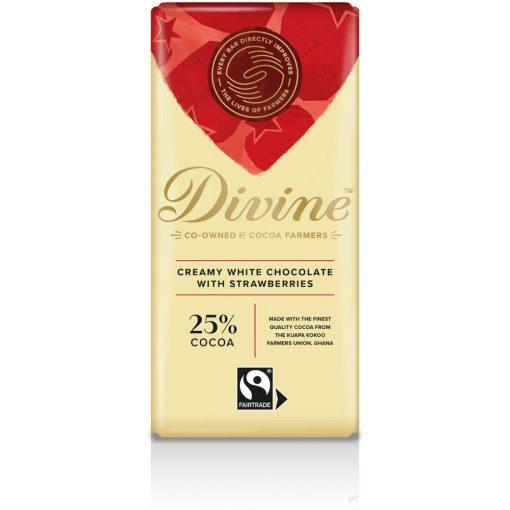 Divine fehércsokoládé eperrel 90g