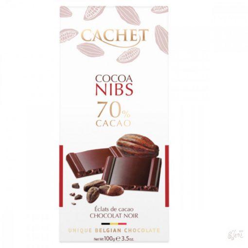 Cachet 70% étcsokoládé kakaóbab törettel 100g