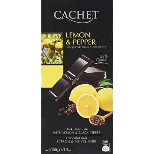 Cachet 57% étcsokoládé citrom-bors  100g