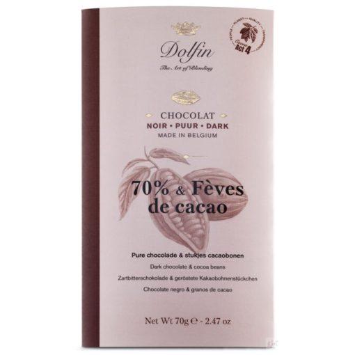 Dolfin 70% étcsokoládé karamellizált kakaóbab 70g