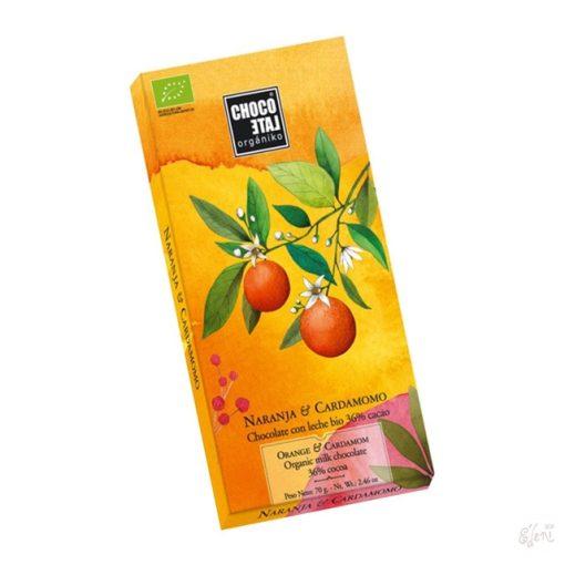 ChocoLate Orgániko tejcsokoládé naranccsal 70g